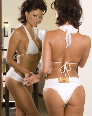 Candice Michelle appeared nude as Playboy's Cyber Girl of the Week