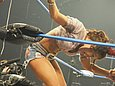 It is highly unlikely that Mickie James will ever pose nude for Playboy. Mickie James, however, has been known to go commando when wearing a short skirt.
